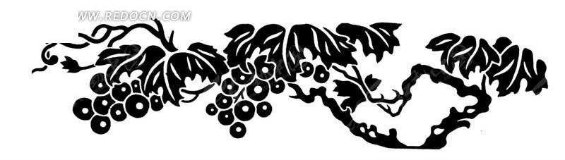 手绘葡萄树上的藤叶果实
