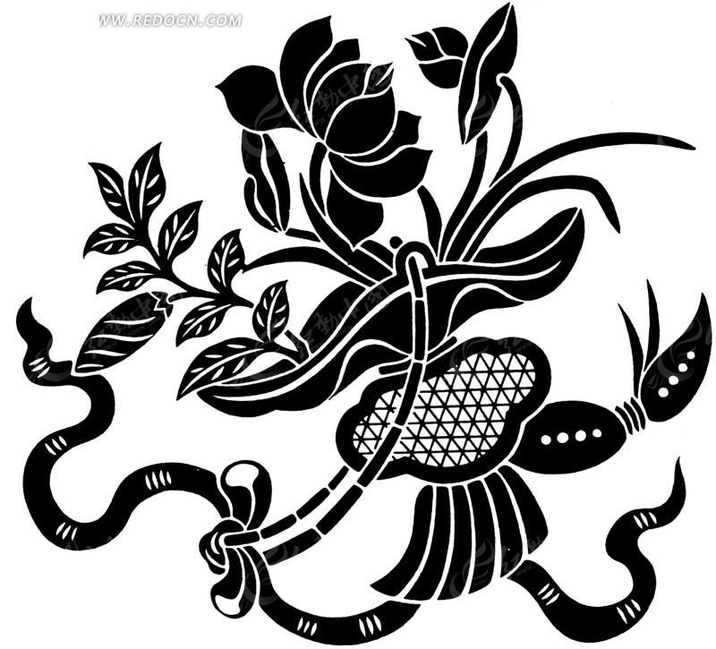 免费素材 矢量素材 艺术文化 传统图案 手绘仙带缠绕的莲花花篮  请您