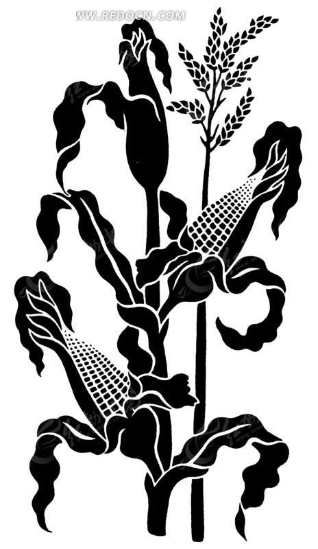 玉米图案黑白装饰画