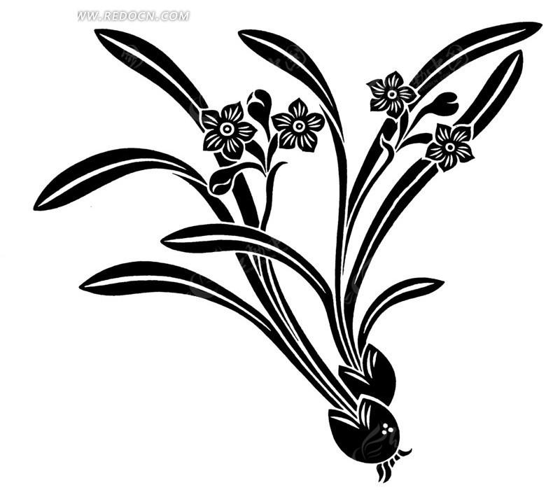 水仙花黑白装饰画矢量图AI免费下载 传统图案素材图片