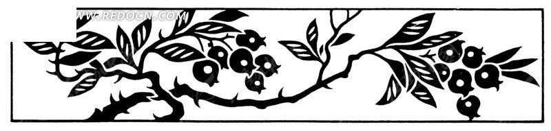 免费素材 矢量素材 艺术文化 传统图案 矢量手绘传统树枝叶子插画  请