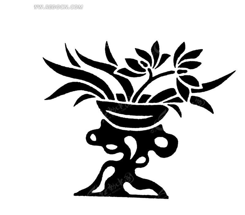 手绘插画 植物素材 花朵花瓣 黑色花朵剪影 矢量文件 传统图案 矢量