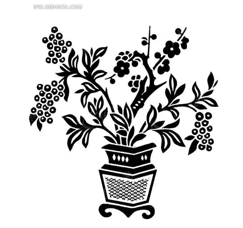 免费素材 矢量素材 艺术文化 传统图案 矢量带有花盆的花朵树枝梅花剪