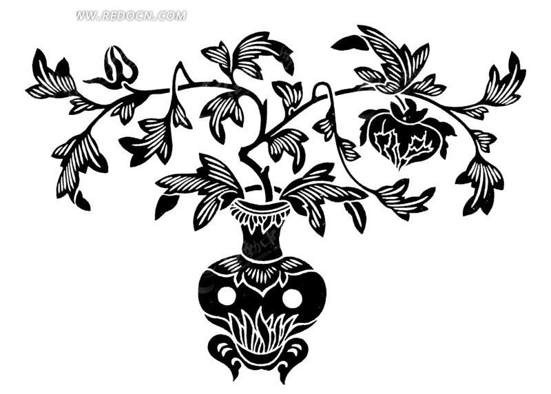 矢量黑色花瓶叶子底纹图形