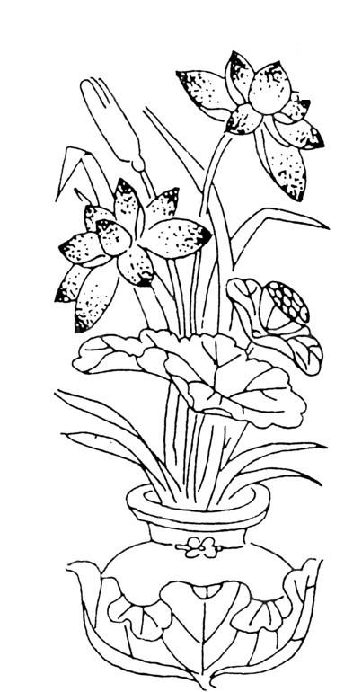 手绘插画 植物素材 花瓶花卉 荷花线条 矢量文件 传统图案 矢量素材