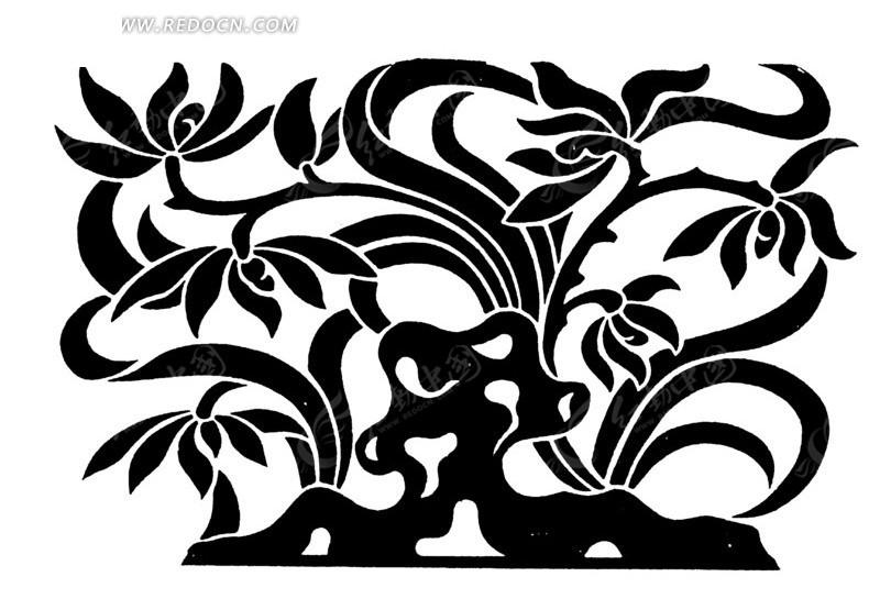 手绘石头后鲜花盛开的植物矢量图_传统图案