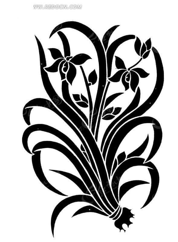 免费素材 矢量素材 艺术文化 传统图案 手绘鲜花盛开的兰花  请您分享图片