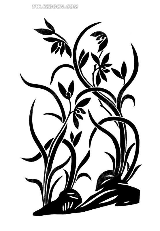 手绘美丽的花朵花纹动感曲线