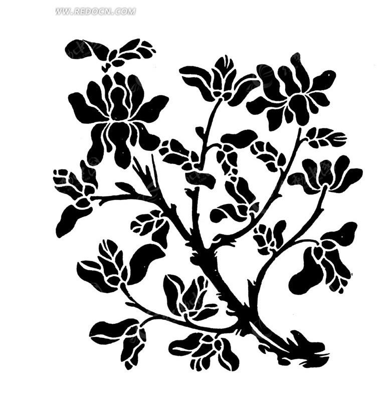 手绘开满花朵的黑色树木