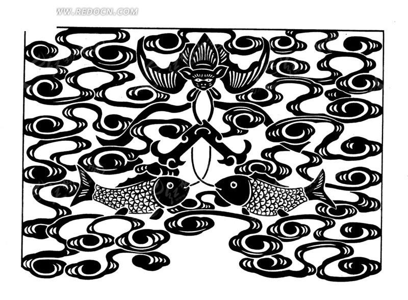 手绘云纹双鲤鱼蝙蝠AI素材免费下载 编号1525175 红动网
