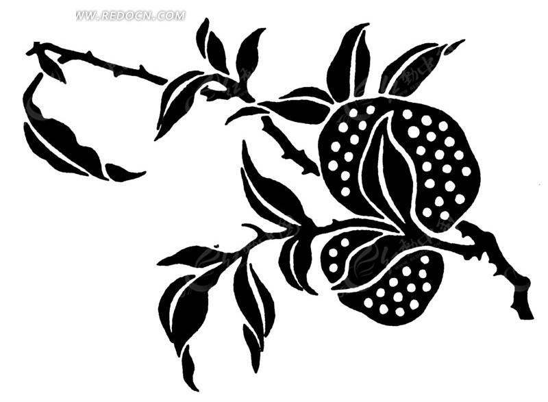 免费素材 矢量素材 艺术文化 传统图案 矢量黑色带有树枝的花朵叶子