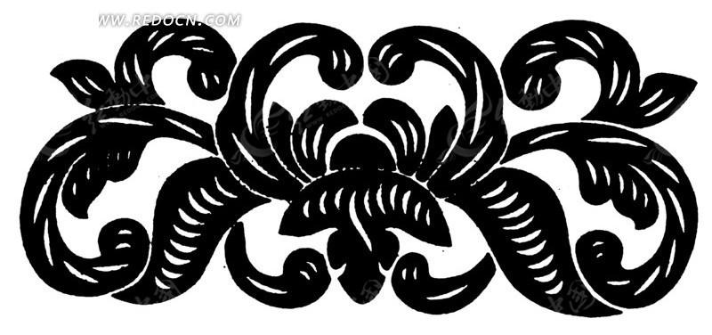 手绘花纹叶蔓蝙蝠