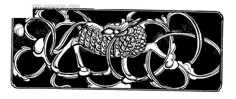 中国古典图案-动物和曲线构成的图案
