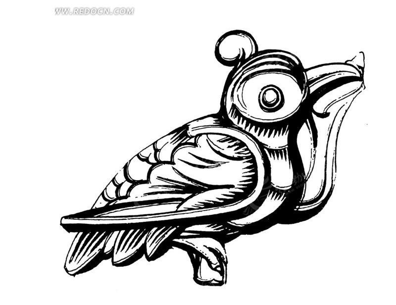手绘一只木雕啄木鸟黑白矢量图案