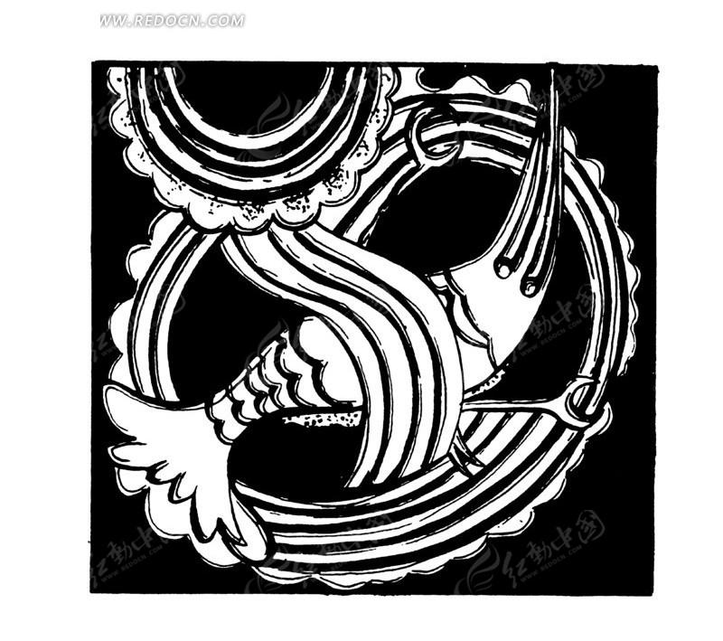 连弧纹曲线纹鳞纹几何纹抽象动物纹构成的图案