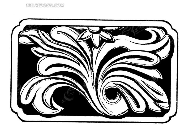 手绘木雕叶蔓花卉图