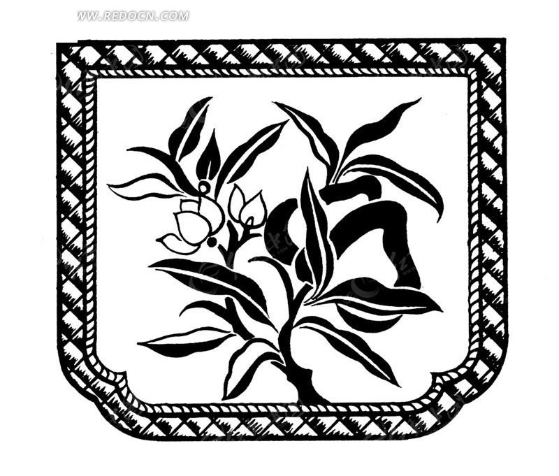 长叶花朵纹几何纹构成的黑白图案