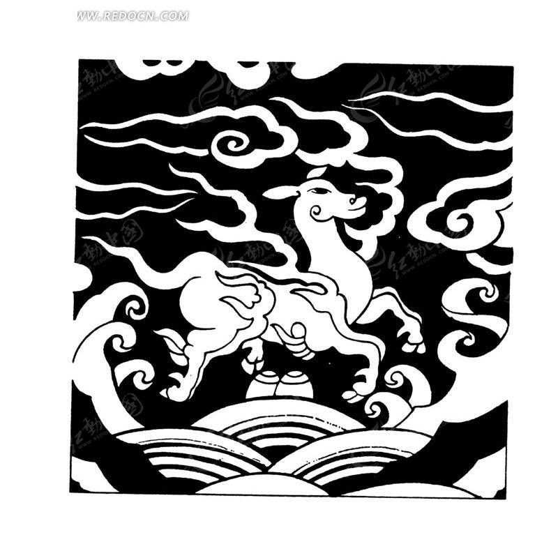神鹿纹云纹水纹卷曲纹构成的黑白图案