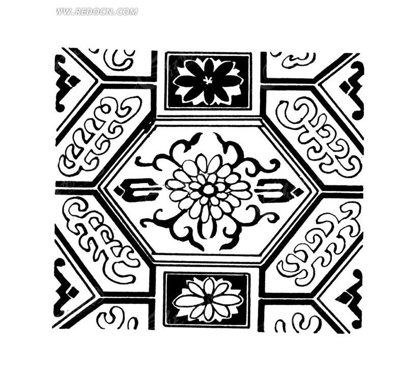 六边形花瓣纹方形卷曲纹构成的图案图片