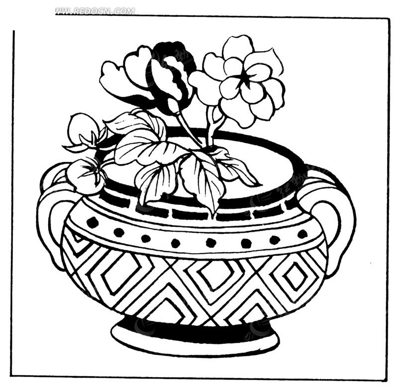 手绘壶罐上牡丹花
