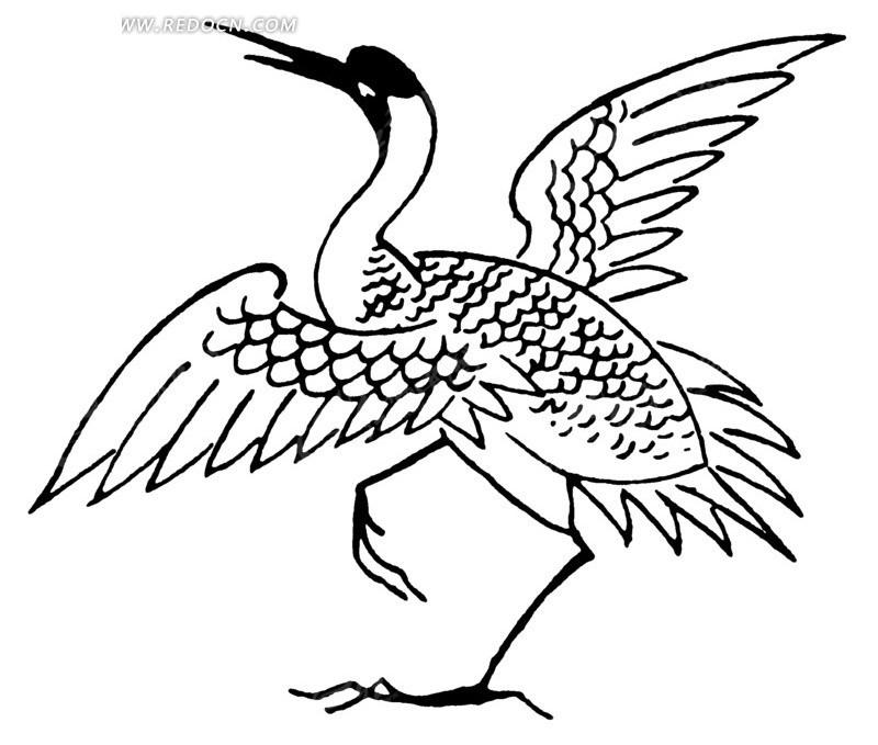 矢量文件 展开翅膀的鸟儿 动物素材 白色背景 传统图案 矢量素材
