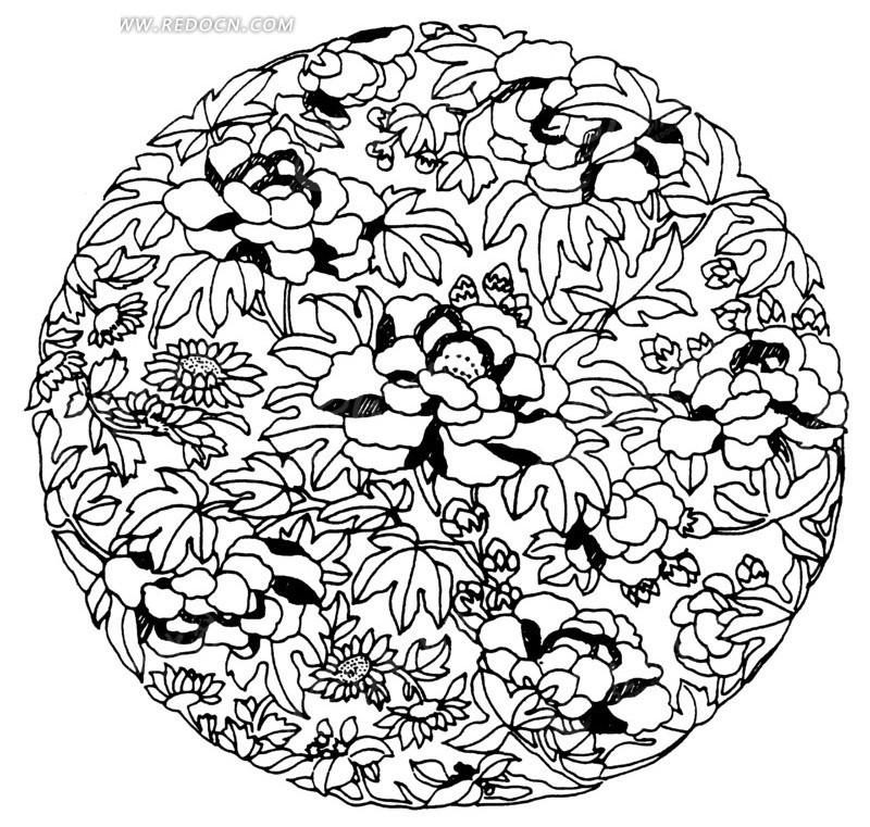 圆形花纹吉祥图案; 中国古典图案-花朵叶子构成的圆形图案矢量图(编号