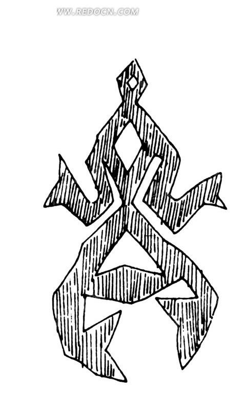 简单几何线条画人物画-脚内弯摆手的抽象人物