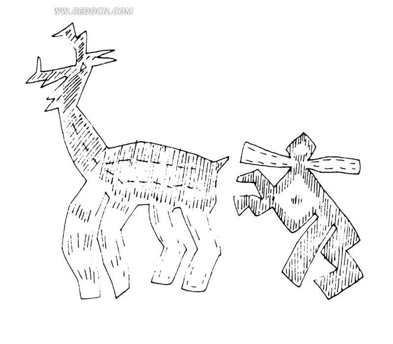 鹿 人 简单 几何线条画 手绘 线描 绘画 黑白 图案 中国 古典 文化