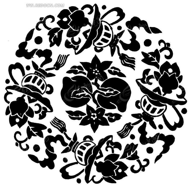 中国传统吉祥图案寿桃矢量素材