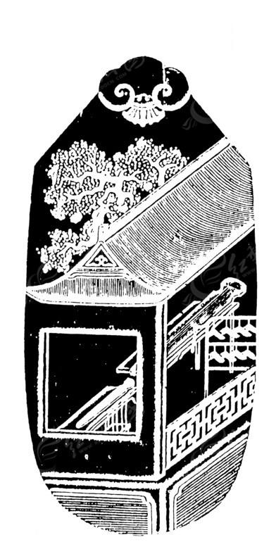 矢量素材 艺术文化 传统图案 > 树木楼阁古琴磬纹卷曲纹构成的黑白古图片