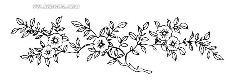 手绘树枝上盛开的花朵和叶子