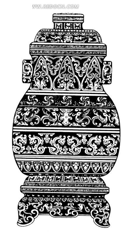 中国古代器物-古物上的卷曲纹龙凤纹矢量图_传统图案