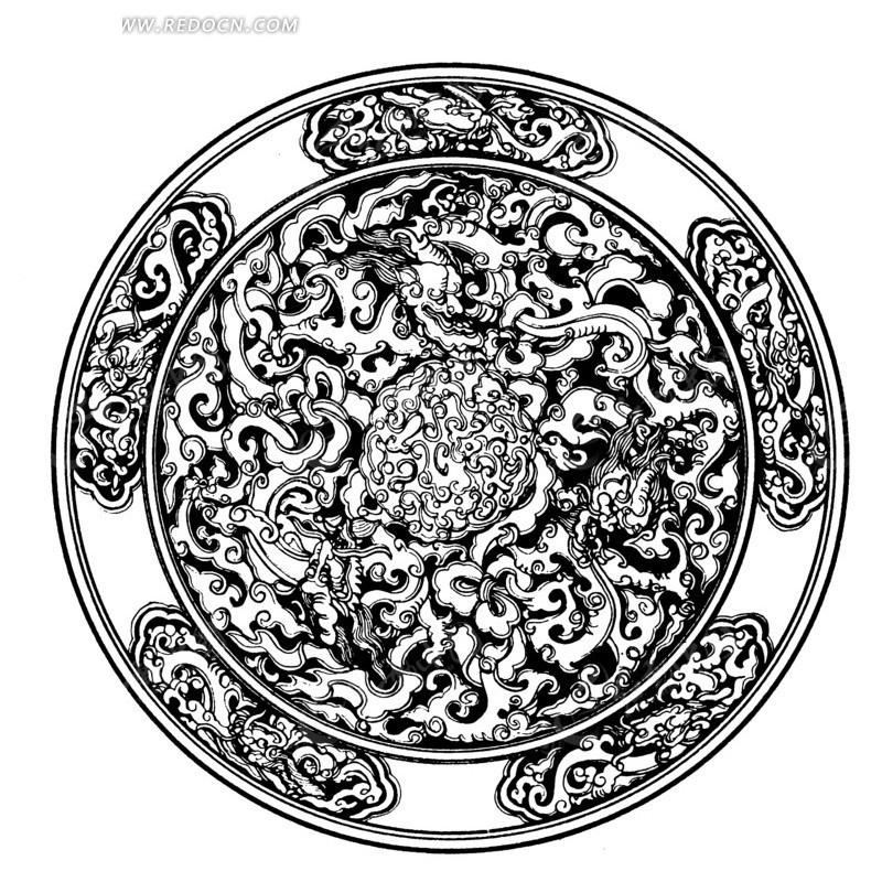 中国传统圆形雕花图案矢量素材图片