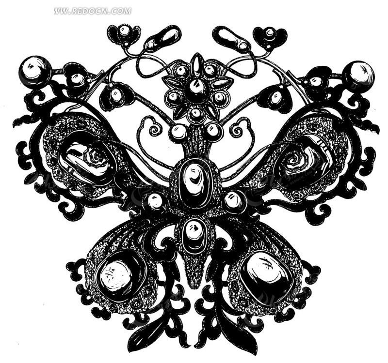 手绘镶嵌宝石叶蔓蝴蝶图矢量图_传统图案