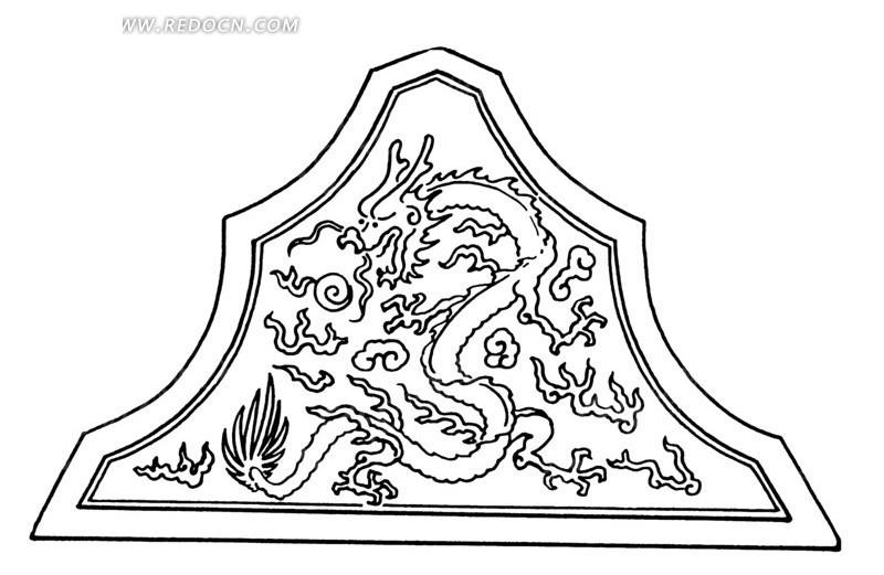 云龙吐珠三角形花纹图案