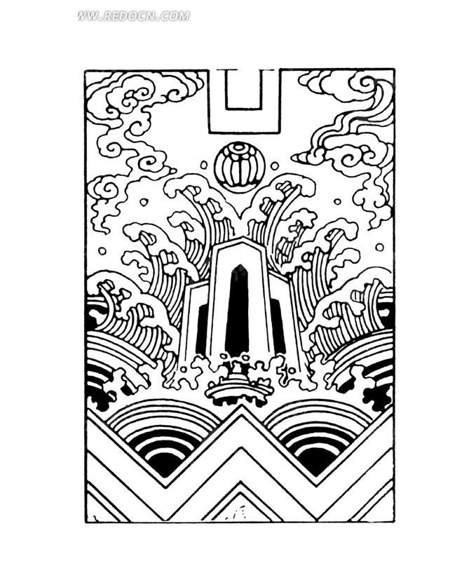 中国古典图案-浪花和山峦以及云纹-传统图案 纹样图片