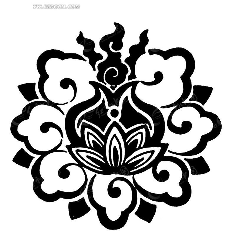 手绘卷叶纹莲花