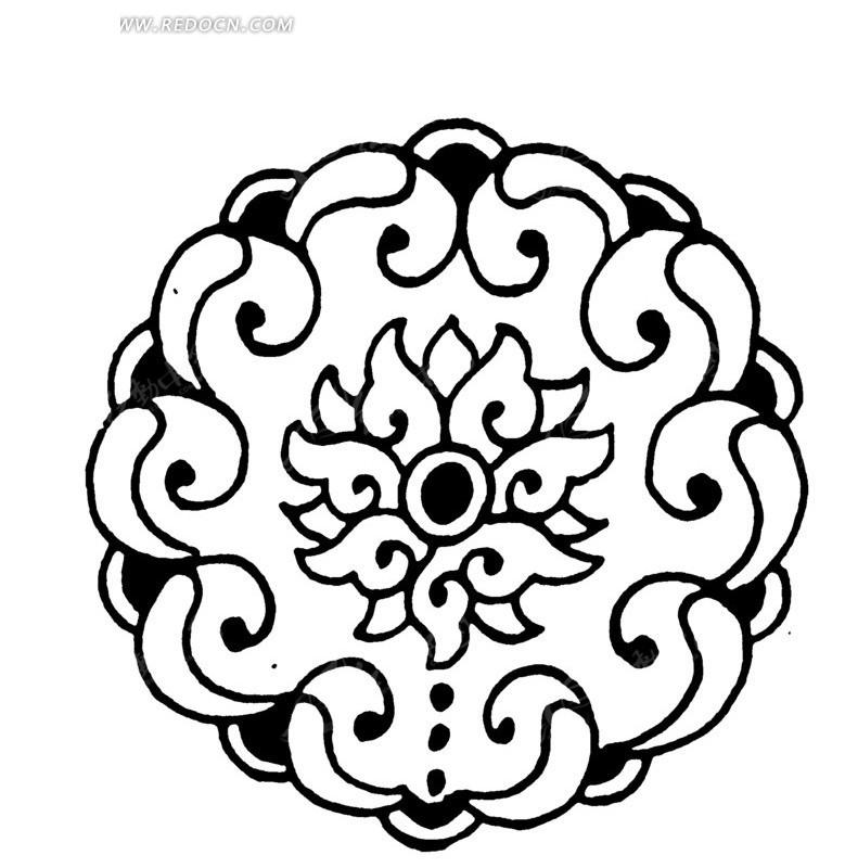 中国 传统 图案 花纹 底纹 矢量素材 黑白 装饰 传统图案 圆形 ai矢量