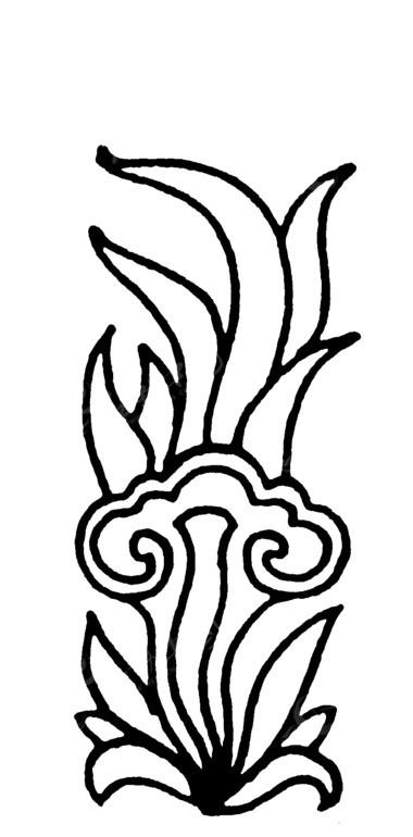 手绘叶蔓如意纹
