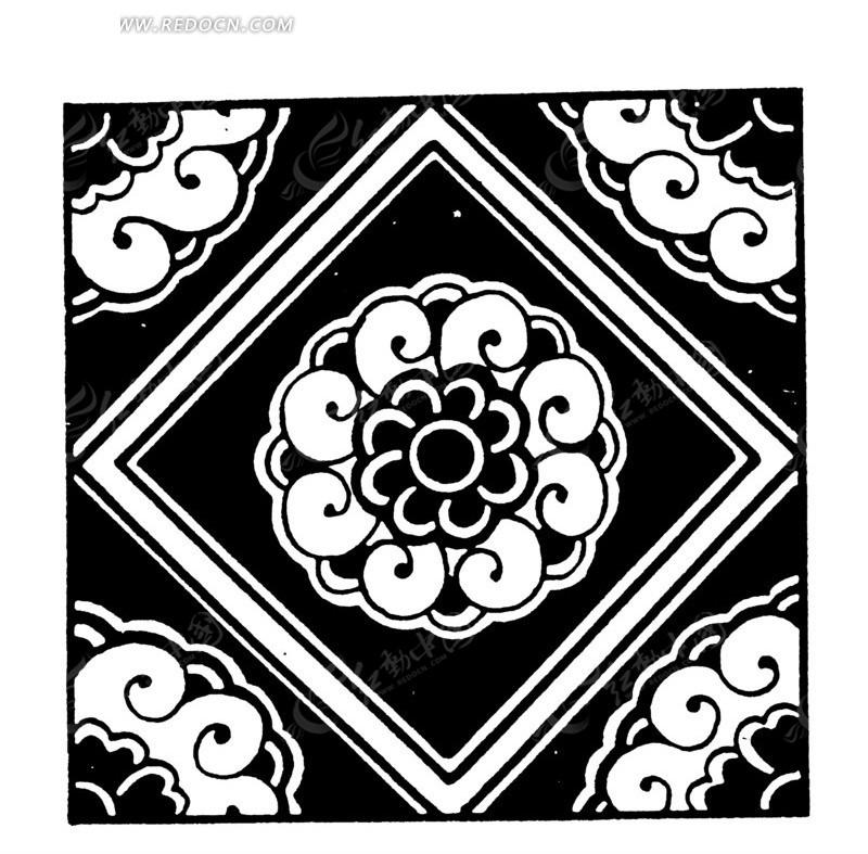 中国古典图案-花朵和卷曲纹构成的方形图案图片