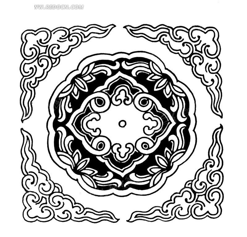 中国古典图案-如意纹和花朵形构成的精美的方形图案图片