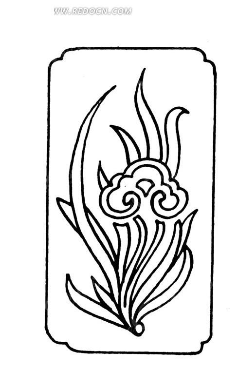 手绘草叶上如意纹图片