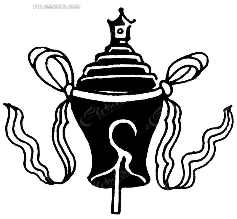 古物 彩带 图案 中国风 中国古典 艺术 装饰 黑白  传统图案 矢量素材