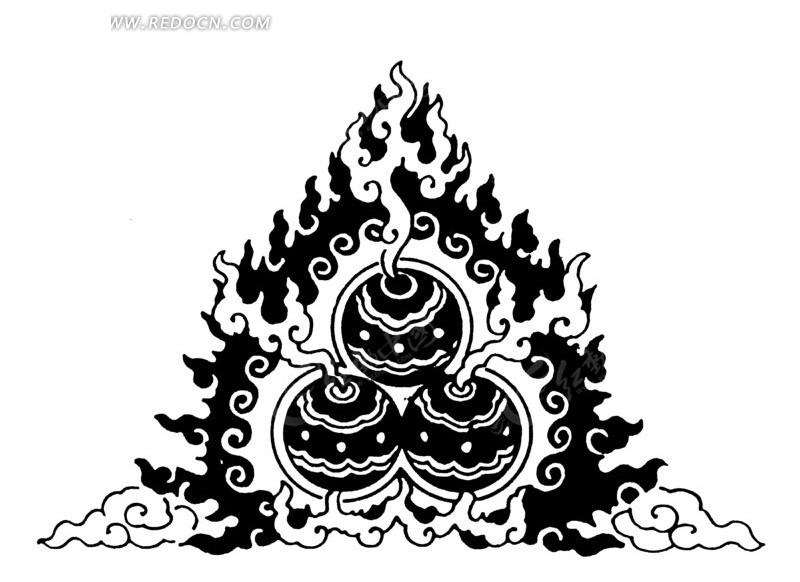 免费素材 矢量素材 艺术文化 传统图案 > 中国古典图案-火球火焰纹
