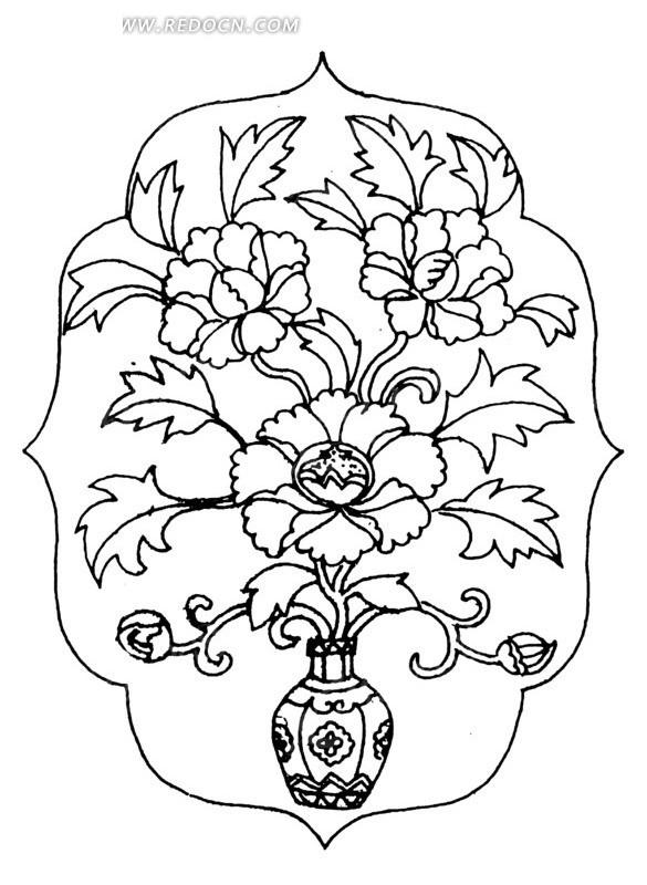 中国古典图案-瓶子里的花朵叶子和卷曲纹