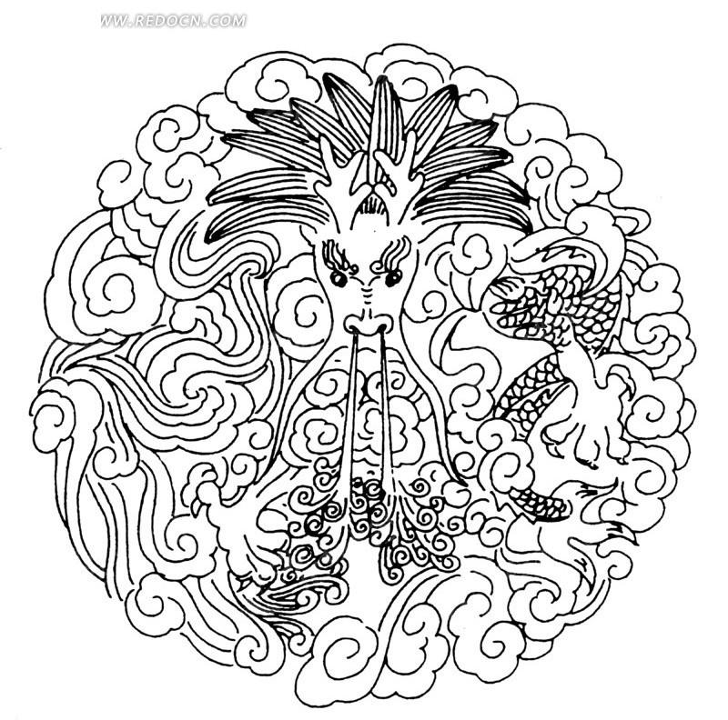 中国古典图案-喷水的龙和云纹构成的圆形图案矢量图图片