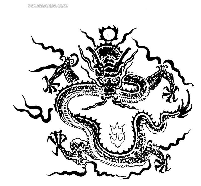 盘龙 斑驳 图案 中国风 中国古典 艺术 装饰 黑白  传统图案 矢量素材