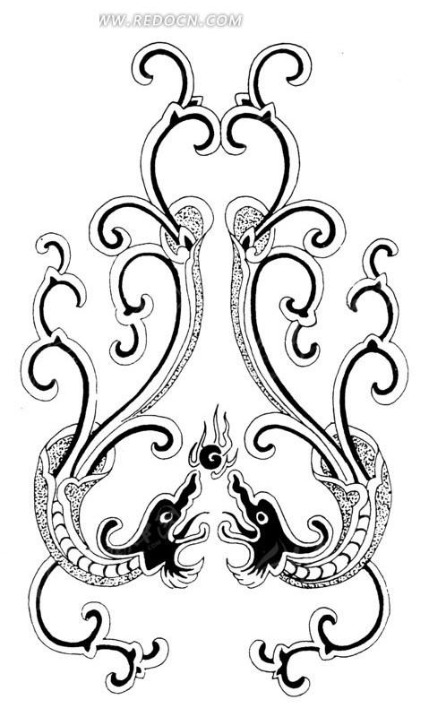 中国古典图案-简易线条双龙戏珠矢量图ai免费下载