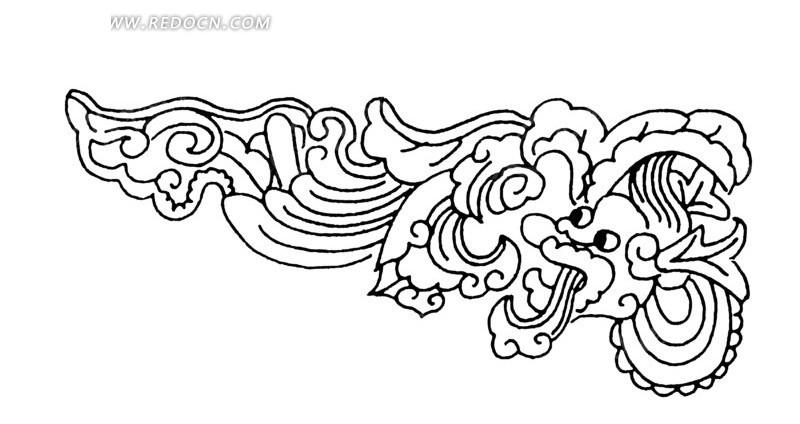 手绘卷草纹花龙