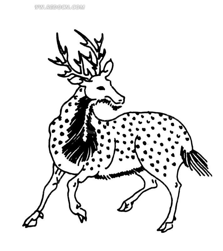手绘 梅花鹿 角鹿 鹿尊 传统图案 矢量素材